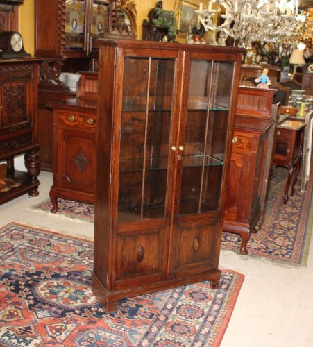 Beautiful English Antique Two Glass Doors Tall Bookcase / Display Cabinet.