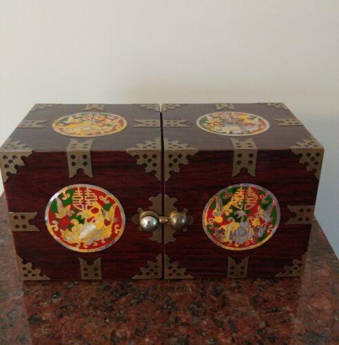 "Chinese lacquered Rosewood box,mother of pearl inlay & brass L. 6 3/4"" H. 3 1/4"""