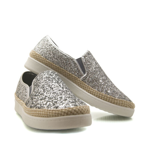 Clearance end of line Glitter Sparkly Womans Ladies slip on Trainer Plimsoll