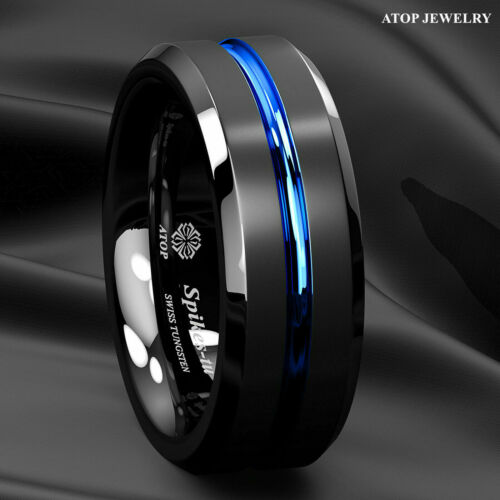 Black Tungsten Carbide Band Ring Brushed Blue Stripe Beveled Edge Mens Jewelry