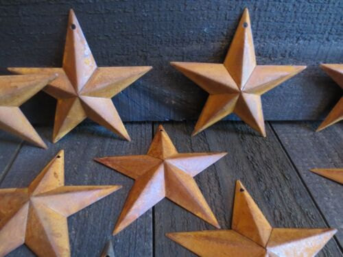 """Lot of 10 Rusty Tin Barn Stars 5.5 in 5 1/2"""" Dimensional Primitive Country Craft"""