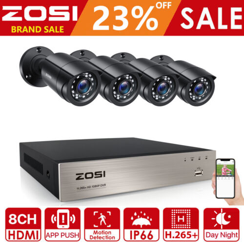 ZOSI 1080P 8CH DVR H.265+ CCTV Home Surveillance Security Camera System 3000TVL
