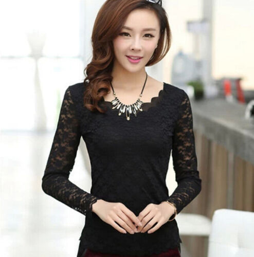 New Fashion Women Lace Long Sleeve Floral Shirt Tops Casual Blouse T-shirt Tops