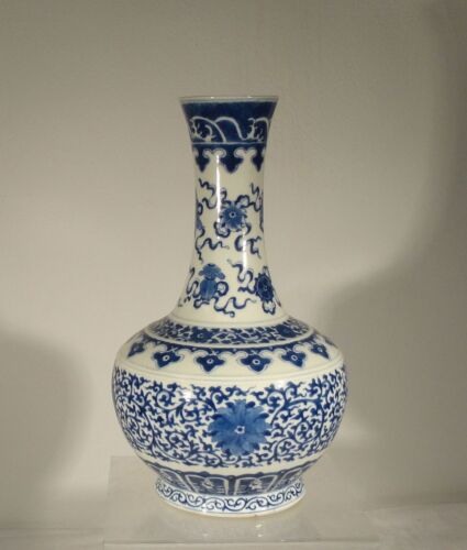 Antique Chinese Underglaze BLue and White Kangxi Mark Bottle Vase 19th Century