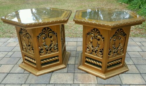 End table (2) carved gold leaf glass top peacock Mid Century Hollywood Regency