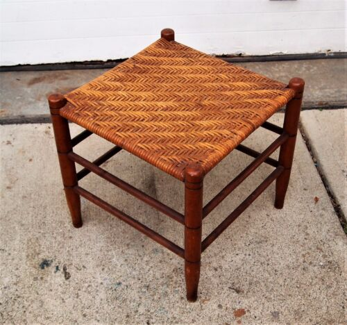 """Antique shaker style Woven Cane/Reed FOOT REST/FOOT STOOL 15"""" x 15"""" Excellent"""