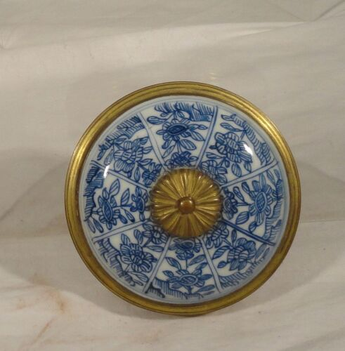 Antique Gilt Brass Bronze French Snuff Box Chinese Underglaze Blue and WHite