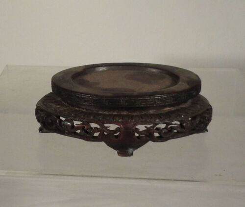 Antique Chinese Carved hardwood Base or Stand Floral Decoration Rosewood