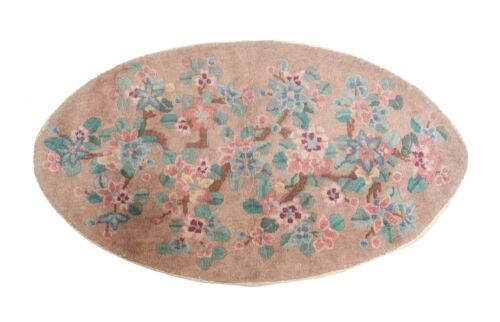 Chinese Oval Ellipse Throw Rug, circa 1930. Floral Design