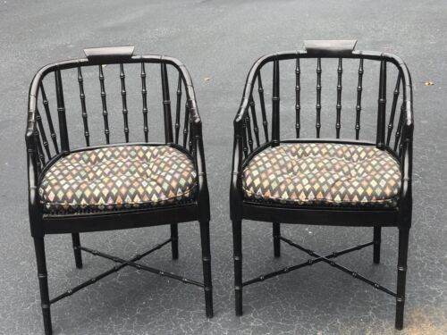 Pair of Century Faux Bamboo Barrel Back Arm Chairs