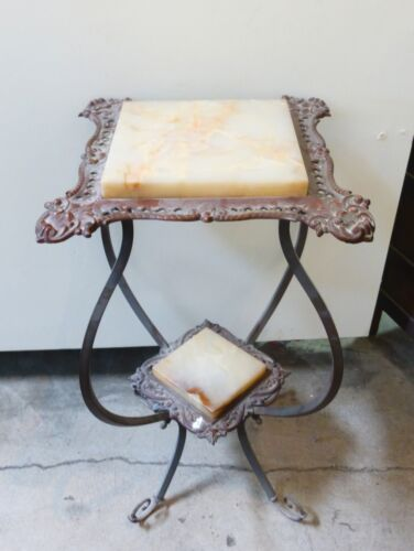 Vintage Marble Side TABLE Stand French Provincial