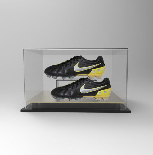 Premium Double Boot Shoe Display Case Acrylic Perspex - GOLD Signed Autographed