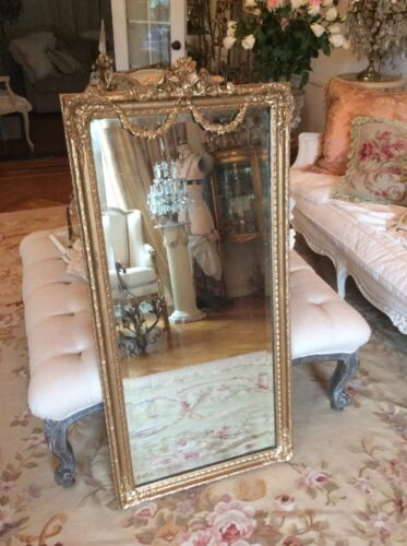 SHABBY LARGE OLD VTG Antique Barbola ROSE SWAG FRENCH? Mirror FRAME