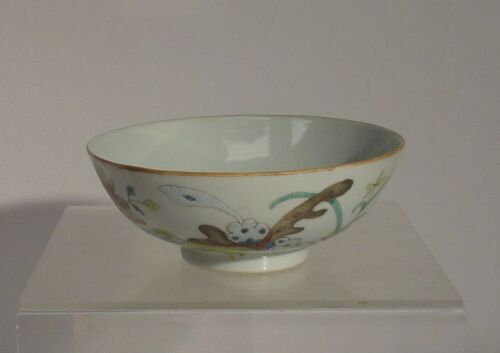 Antique Vintage CHinese Republic 20th Century Export Enamel Bowl Reign Mark