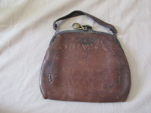 Antique Jemco 1920's Leather Embossed Tooled Turn-Lock Handbag Purse Art Nouveau
