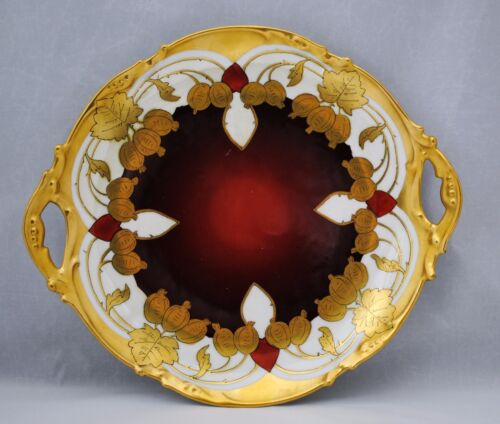 Stouffer China Co. Limoges Hand Painted Gold & Burgundy 2 Handle Plate