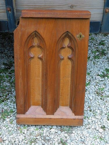 Victorian Antique Holy Gothic Church Altar communion door walnut arched panels