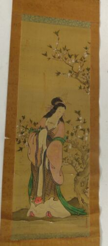 Antique Vintage Japanee Chinese Scroll Painting Lady Signed Seals
