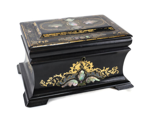 Black English Lacquer with Mother of Pearl Inlay Footed Tea Caddy 19th century