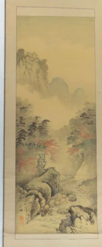 Antique Japanese Watercolor Landscape Painting Scroll Signed Inscription Seal