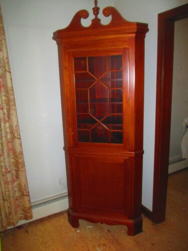 petite CORNER CABINET mahogany w/ Satinwood  Inlay DELIVERY AVAILABLE see below