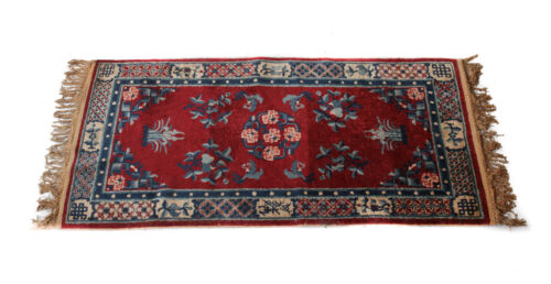 """Chinese Wool Rug, c1920. Blue and Red Field Floral Designs 73.5"""" x 36.5"""""""