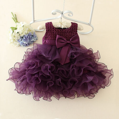 Baby Wedding Party Pageant Tutu Dresses Flower Girls Princess Bow Dress Toddler