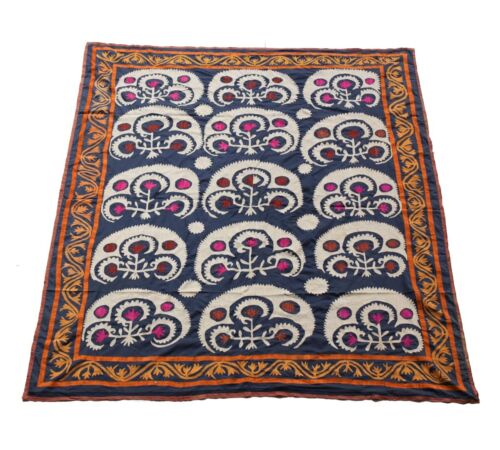 Caucasian Suzani Tapestry. Blue Foundation Stylized Flowers