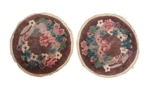 Pair of Chinese Round Wool Rugs, circa 1930. Floral Designs