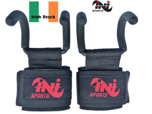 INI Weight Lifting Gym Hook Grips Straps Gloves Wrist Support cross fit training