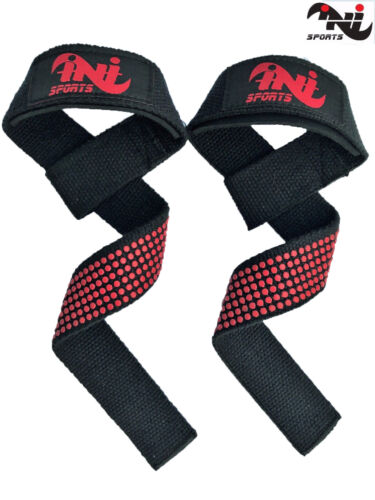 INI Padded Weight Lifting Straps Training Gym Gloves Hand Bar Gel Wrist Support