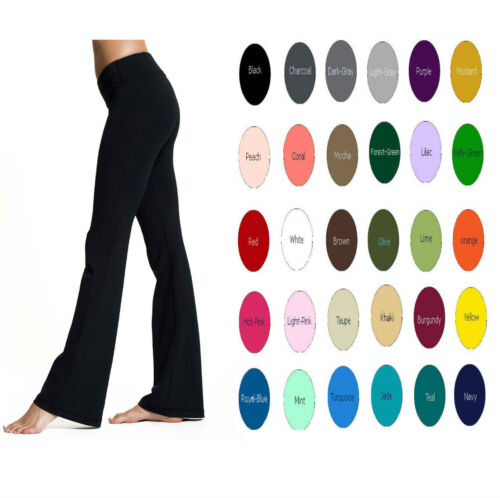 "36"" Inseam Cotton Spandex Fold Over Women Flare Yoga Pants  XS-5X 30 Colors USA"