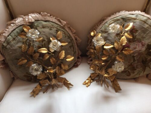 Antique vtg pair tole italian murano glass flowers wall  Sconces bows
