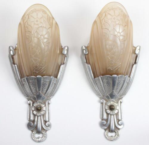 PAIR Antique 1930s Art Deco Lincoln #10560 Cast Aluminum Pink Slip Shade Sconces