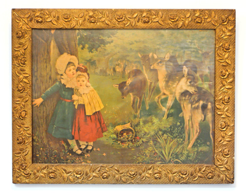 ANTIQUE VICTORIAN GOLD GILT WOOD & GESSO PICTURE FRAME + PRINT