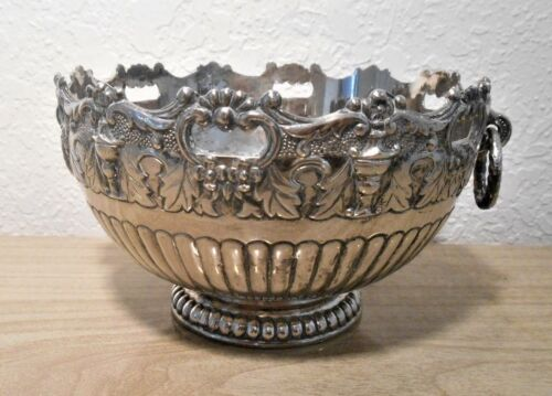 silver plated bowl with handles antique markings decorative Collectible SALE