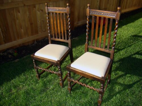 Pair of Antique English Solid Oak Barley Twist Slatted Arm Chairs Dining Padded