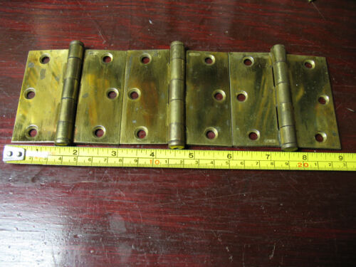 VINTAGE  STANLEY  HINGES BRASS  PLATED  STEEL APPROX 3X3'' PAT. 2154860