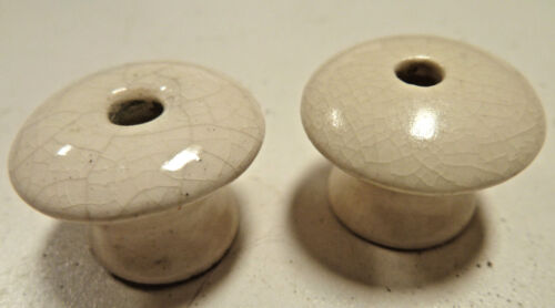 Antique Pair (2) Ivory White Handmade Ceramic Porcelain Rustic Drawer Door Knobs