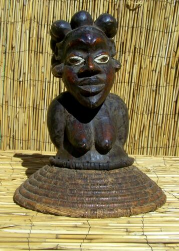 """African Ekoi Ejagham Leather Covered Head Crest From Nigeria 15 1/2"""" Tall"""