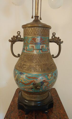 Antique Cloisonne Vase Converted to Lamp Bronze Double Post. H. 24.5 inches