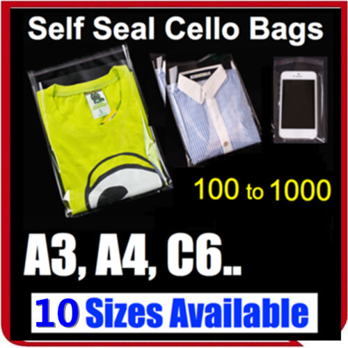Clear Self Seal Adhesive Cello Cellophane Resealable Plastic Bags C6 A4 A3