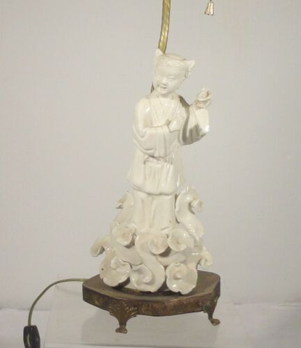 Antique Chinese Vintage Blanc De Chine Lamp Figure As Is