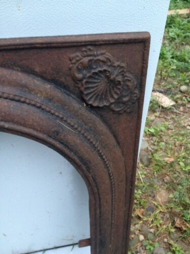 Antique VTG Architectural Fireplace Mantel Insert Cast Iron Arch Surround Shell