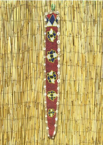 "African Yoruba Beaded Diviner Beaded hanging Sash panel From Nigeria 38"" Long"