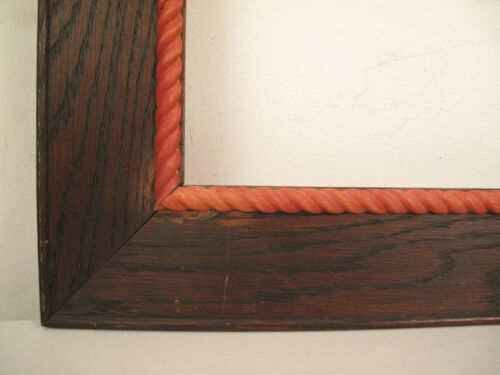 """Mid Century Carved Wood Nautical Rope Picture Frame fits 18"""" x 16"""""""