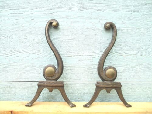 rare ANDIRON'S / MUSICAL NOTES  c1900's  IRON and BRASS fireplace VINTAGE 32 Lbs