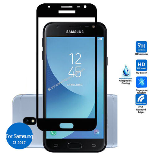 Black Full Size Tempered Glass Screen Protector For Samsung Galaxy J3 2017