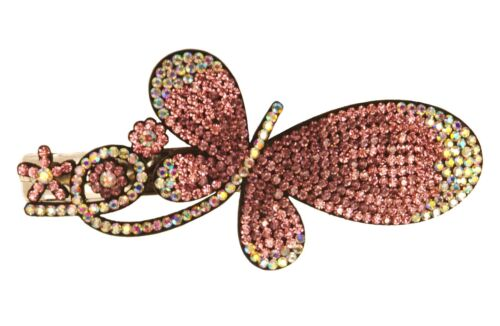 BE02030 butterfly creation hair clip with colourful sparkling sequins - pink