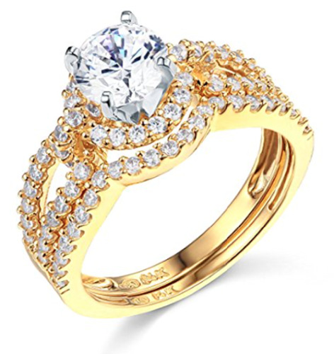 3.25 Ct Round Cut Engagement Wedding Ring Halo Split Shank Solid 14K Yellow Gold